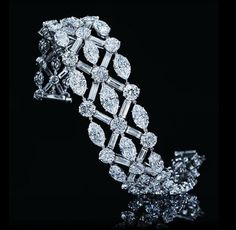 Harry Winston Important Diamond Bracelet with Round, Baguette and Marquise Diamonds