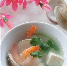Seafood Soup Recipes, Tofu Soup, Clams, Chinese Food, Food Print, Shrimp, Curry, Stuffed Peppers, Meat