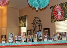 What a cute idea for a 1st birthday party-- display pictures for each month of you child until the 12th month! by leleb