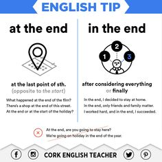 English Tip: at the end / in the end