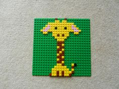 nursery animal picture, zoo animal picture, safari animal picture, kids room art, lego mosaic Giraffe Pictures, Lego Pictures, Nursery Pictures, Lego Activities, Creative Activities For Kids, Lego Faces, Lego Challenge, Lego Christmas, Hama Beads