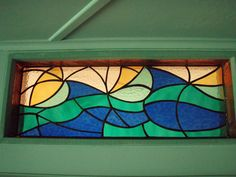 3/5 stained glass window - water