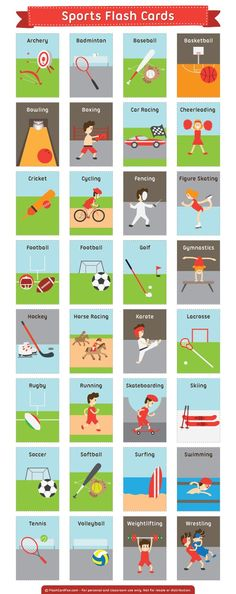 Free printable sports flash cards. These are great for learning English sports words (ESL). Download them in PDF format at http://flashcardfox.com/download/sports-flash-cards/