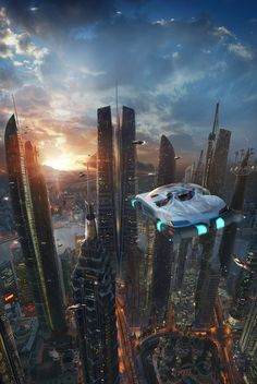 'Alliance Front' by Dave Seeley, cyberpunk, futuristic city, flying car, future city, futuristic architecture