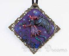 "Goth Fairy Pendant, Demon Pendant, Goth Pendant, Halloween Pendant, Wearable Art Jewelry, Dark Fantasy Jewelry, Halloween Jewelry This darkly cute and beautiful pendant is called ""Little Demon"""