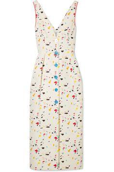 CAROLINA HERRERA 印花棉质混纺罗缎中长连衣裙. #carolinaherrera #cloth #