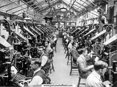 Composing Rooms with Linotype Machines in Sheffield Telegraph and Star Newspaper Offices, Kemsley House, High Street