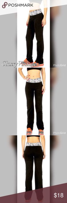 Abstract print fold over waist yoga pants Jet black with abstract print fold over  waistband. Super soft cotton 95% and spandex 5% blend. boutique Pants Track Pants & Joggers