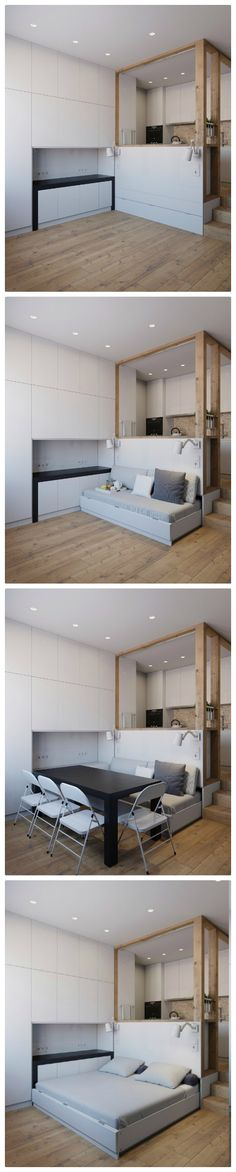 Every piece of furniture has more than one function in this 25 m2 apartment