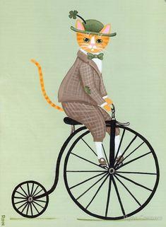 Penny Farthing irlandés gato Whimsical arte por KilkennycatArt