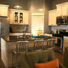Black Pearl Granite, Contemporary, kitchen, Benjamin Moore conventary gray