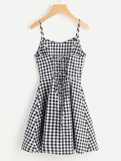 Shop Open Back Princess Seam Gingham Cami Dress online. SheIn offers Open Back Princess Seam Gingham Cami Dress & more to fit your fashionable needs. Cute Dresses, Casual Dresses, Casual Outfits, Summer Dresses, Short Dresses, Casual Clothes, Trendy Dresses, White Sundress, Gingham Dress