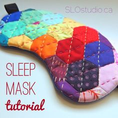Just in case you were wondering how I put my new sleep mask together, or wanted to make your own … I've made a tutorial and a printable template for a handmade sleep mask! :) The finished sleep mask. Small Sewing Projects, Sewing Hacks, Sewing Tutorials, Sewing Crafts, Sewing Patterns, Diy Crafts, Block Patterns, Clothing Patterns, Sewing Ideas