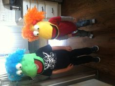 adorable little models trying on my diy fraggle rock masks for halloween - Fraggle Rock Halloween Costumes