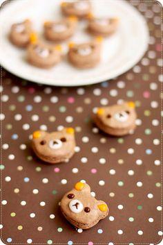 Rilakkuma Macarons リラックママカロン by bossacafez, via Flickr  I want to make these soooo bad!