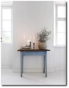 too white for me, but i love the blue and the table is just enough rustic without looking like it's falling apart. #lglimitlessdesign #contest