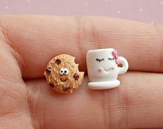 Cookie Earrings - Tea Earrings - Food Earrings - Kawaii Earrings - Women Earrings - Chocolate Earrings - Valentines Day Gift