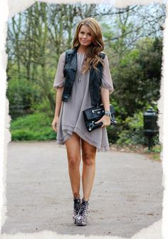 So cute! Annette Haga in...: Bik Bok: dress, Topshop: leather west, Jeffrey Campbell: shoes  Balenciaga: clutch, Sweets Gallery: Bracelet