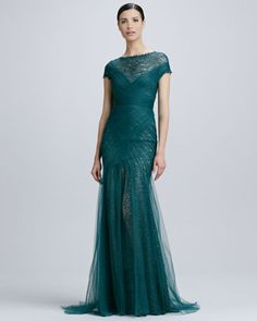 Short-Sleeve Lace & Tulle Gown by Monique Lhuillier at Neiman Marcus.  Evening dress? Everyday dress when I get my mansion.