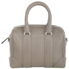 Givenchy Lucrezia Micro Bowling Bag Leather Sable in beige, grey,... ($750) ❤ liked on Polyvore featuring bags, handbags, leather handbags, grey purse, leather man bags, leather hand bags and man bag