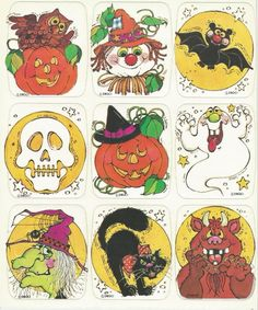 Peel Here! Stickers of the Vintage Halloween Images, Retro Halloween, Holidays Halloween, Spooky Halloween, Halloween Crafts, Happy Halloween, Halloween Decorations, Halloween Illustration, Maquillage Halloween