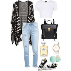 Comfy School by emilylav1 on Polyvore featuring Topshop, Paige Denim, Converse, 3.1 Phillip Lim, MARC BY MARC JACOBS, Chanel, Eos, Hipster, tumblr and indie