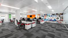 Tétris has developed the new offices of computer and smartphone manufacturer Lenovo located in Barcelona, Spain. Open Office, Office Spaces, Corporate Office Design, Finishing Materials, Floor Finishes, Barcelona, Flooring, Architecture, Offices