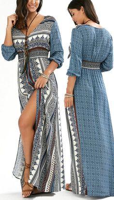 ffe4567d1b  18.80 Empire Waist Button Down Flowy Beach Bohemian Maxi Dress - Blue  Acevedo