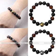 1Pcs Black Agate Red Tiger's Eye Gemstone Beads Dragon Carved Stone Bracelet
