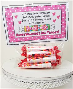 "Candy Sayings Teacher Valentine ""Smarties"""