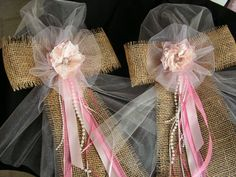 Burlap and Pink  Lace Pew Bows Rustic Wedding Decor by Mydaisy2000, $10.00