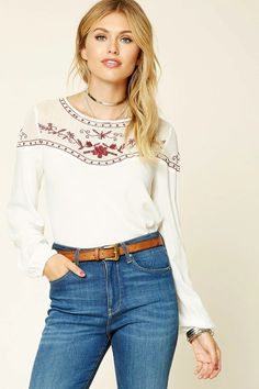 Forever 21 Contemporary - A woven top featuring a semi-sheer floral embroidered yoke, a round neckline, long sleeves with elasticized cuffs, and a back button closure with a keyhole detail.