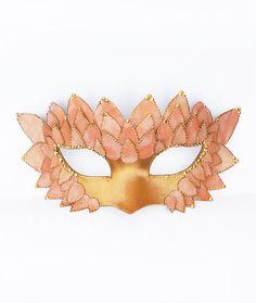 Pink  Gold Masquerade Mask - Embellished Leather and Satin Venetian Mask on Etsy, $55.00