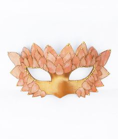 Pink & Gold Masquerade Mask - Embellished Leather and Satin Venetian Mask on Etsy, $55.00