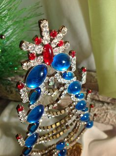 Blue Vintage Czech Rhinestone Christmas Tree, Czech Blue Crystal Christmas Tree, Stand up tree, Tabletop Holiday Decoration by MeAndMoma on Etsy