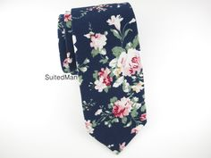 Floral Tie, Navy Peach Rose – SuitedMan