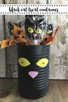 Make this darling back cat treat container for spooky halloween treats with the easy DIY from Everyday Party Magazine #BlackCat #Halloween