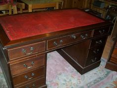 MAHOGANY LEATHER TOP PARTNERS DESK & FILING CAB