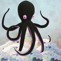 Octopi Mavro Large Plush Black Octopus Toy NOW made with minky fleece Xplush Xsoft. $92.00, via Etsy.