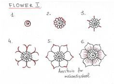 how to draw a beautiful and smooth mehndi flower. Small and easy henna tutorial. DIY.