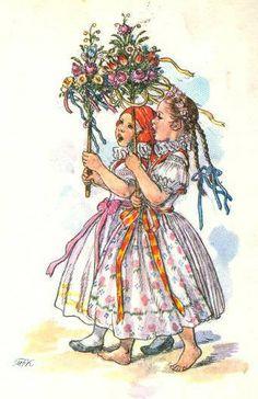 Marie Fischerova Kvechova - lidová kultura, folklor a folklorismus Illustrator, German Folk, Spring Images, Beltane, Art Themes, Children's Book Illustration, Vintage Pictures, Vintage Children, Vintage Art