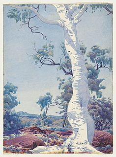 watercolour painting in watercolour image h x w cm Gift of Gordon and Marilyn Darling, celebrating the National Gallery of Australia's Anniversary, 2009 Accession No: NGA Australian Painting, Australian Artists, Landscape Art, Landscape Paintings, Tree Paintings, Aboriginal Art, Aboriginal History, Aboriginal People, Watercolor Images