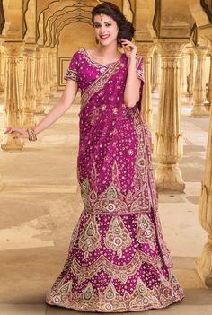 Violet Net #Designer #Wedding #Lehenga In Heavy #Embroidered Pattern