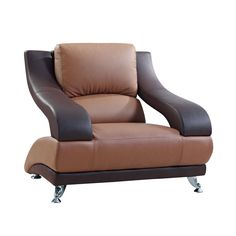 Global Two-tone Brown Bonded Leather Chair (Brown/Dark Brown Bonded Leather Chair) (Chrome)