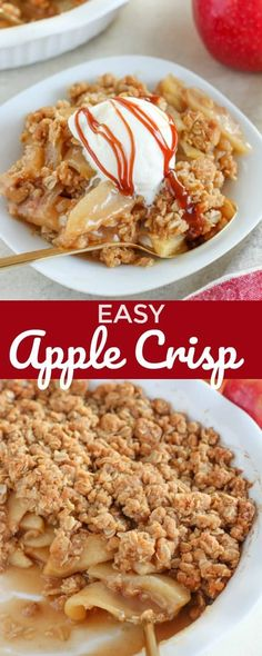 The only Apple Crisp Recipe you'll ever need - Tender apples topped with an easy brown sugar oat topping. Serve with vanilla ice cream and watch it disappear. It's fantastic! #apples #applecrisp #fall #dessert #easyrecipe #baking