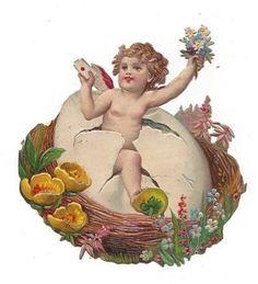 Victorian Die Cut Scrap Valentine Easter Egg Cherub