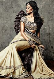 Iifa Collection By Vkram Phadnis Brown Embroidered Saree