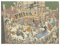 """I was recently tasked with creating a poster for Phish's Glens Falls, NY stop. With the nickname """"Hometown U.S.A."""" I decided to depict a small hometown parade, letting the composition build while adding little bits of weirdness here and there. If you'd like to get your hands on one they will be available in my store on Friday October 25, 2013 at 2:00 PM EST. The poster is a five-color screen print and the size is 18""""x24"""". One per customer, orders of ..."""