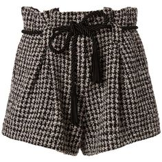 L'Agence Women's Houndstooth Paperbag Shorts ($239) ❤ liked on Polyvore featuring shorts, bottoms, pants, clothing - shorts, paper bag shorts, rope belt, l agence shorts, black and white shorts and zipper shorts