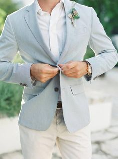 Menswear doesn't have to be boring! Love this light blue jacket wedding groom attire blue All the Inspiration You'll Ever Need for Your Vow Renewal Beach Wedding Groom Attire, Beach Groom, Groom And Groomsmen Style, Groom Style, Best Wedding Suits For Groom, Casual Wedding Suit, Casual Grooms, Groom Suits, Wedding Ties